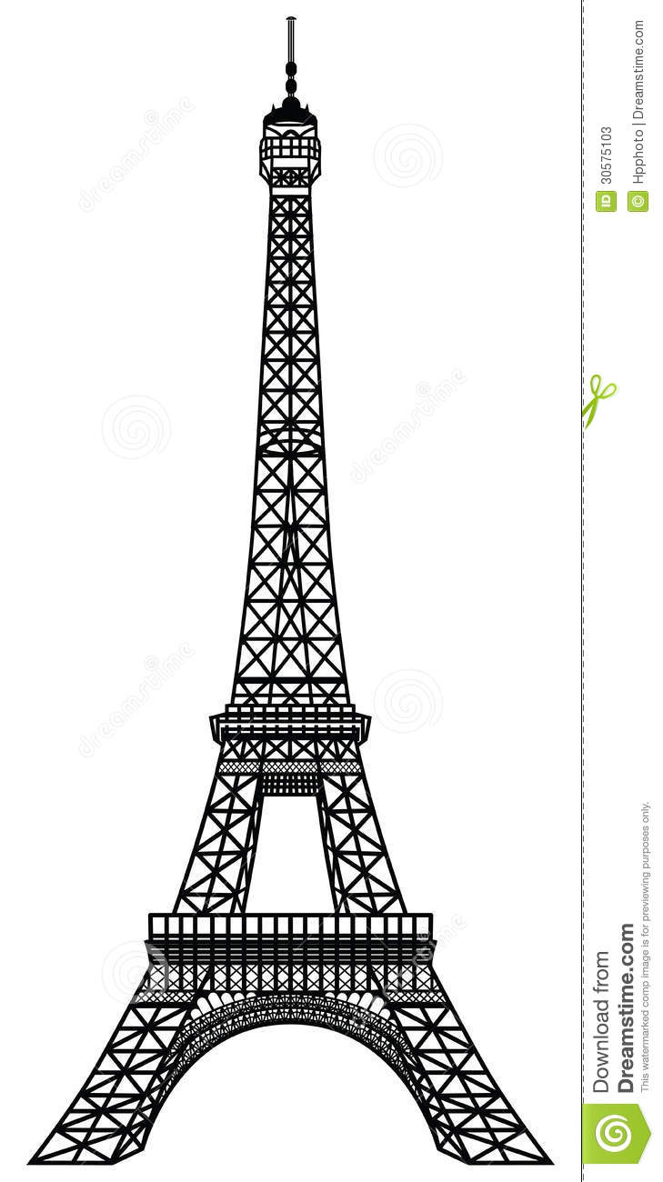 Eiffel Tower Black Silhouette Stock Photos - Image: 30575103