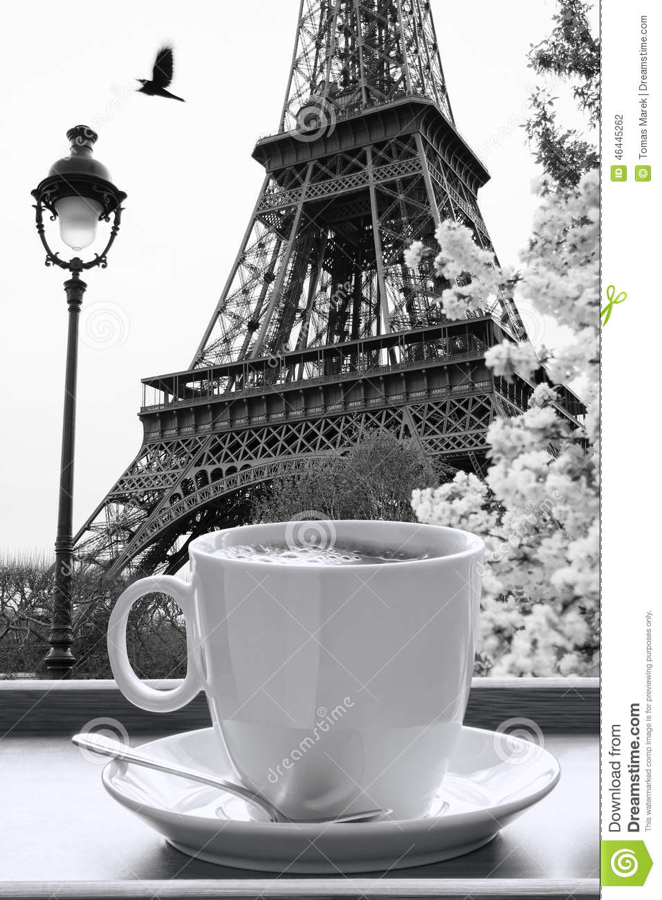 Outdoor cafe in paris with tower in background - Black Coffee Cup Eiffel Famous France Paris Style Tower