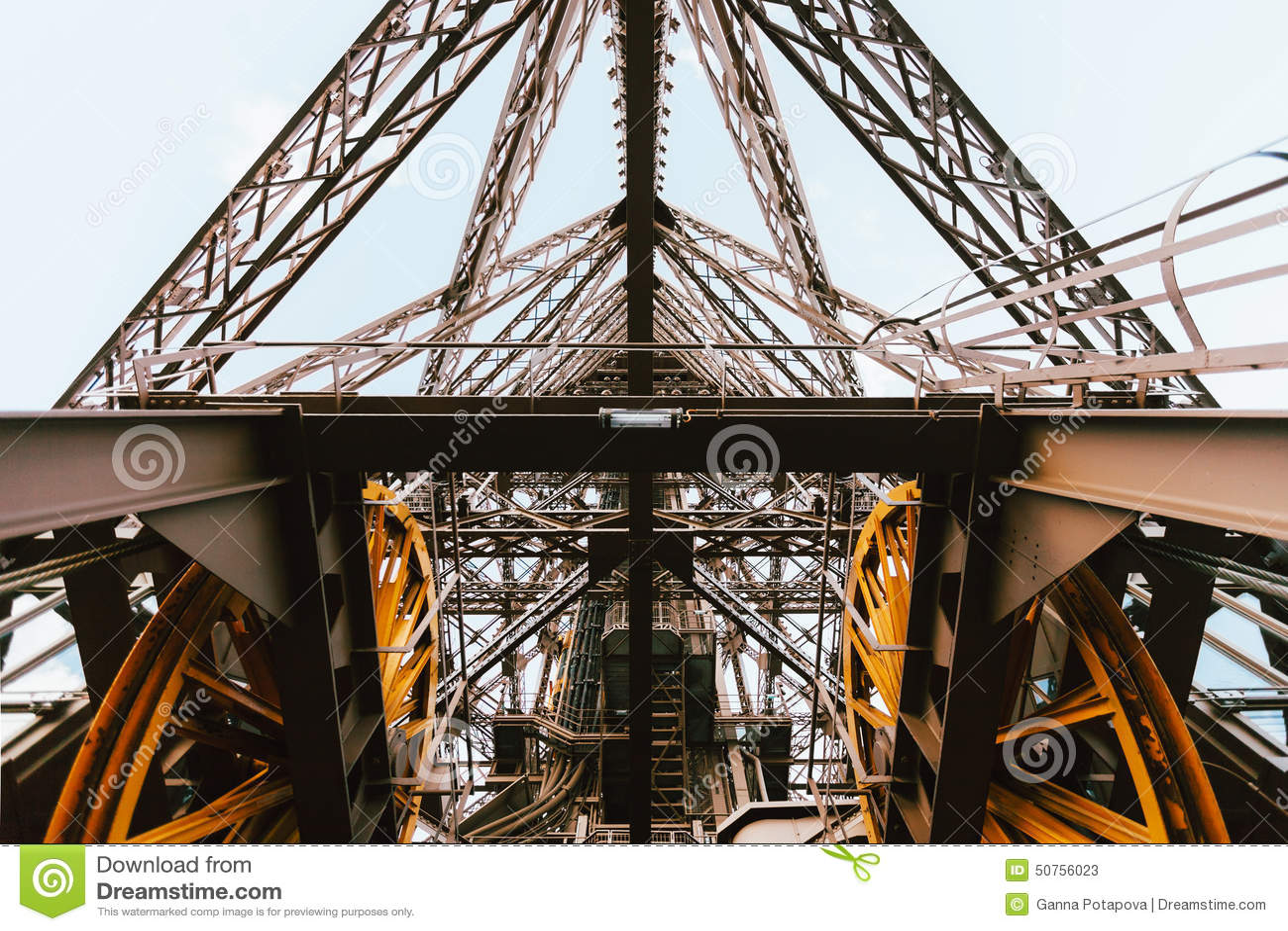 eiffel tower elevator mechanism paris france stock photo. Black Bedroom Furniture Sets. Home Design Ideas