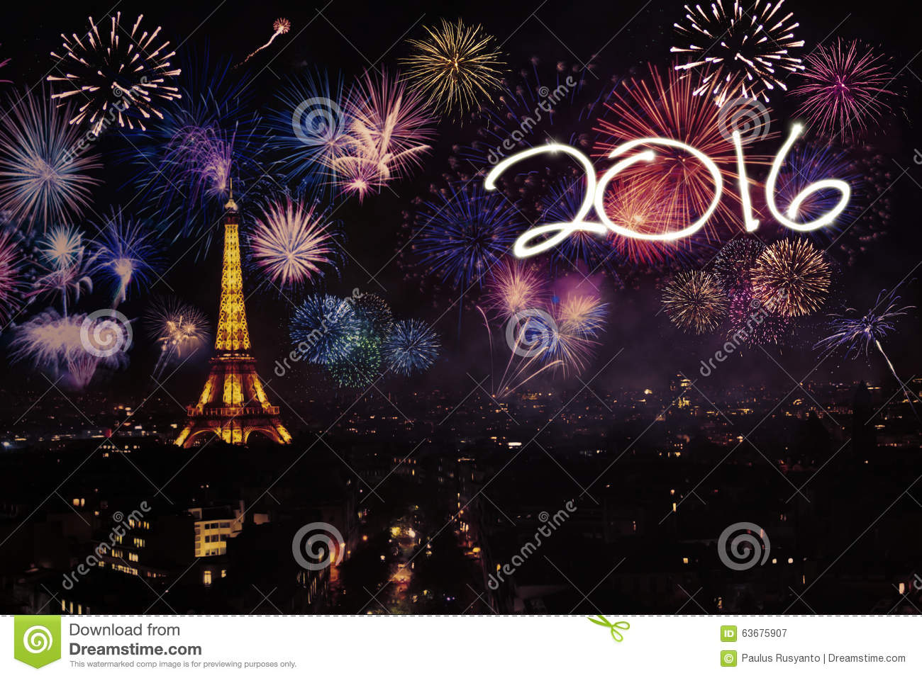 eiffel tower with fireworks and numbers 2016 stock image - image of