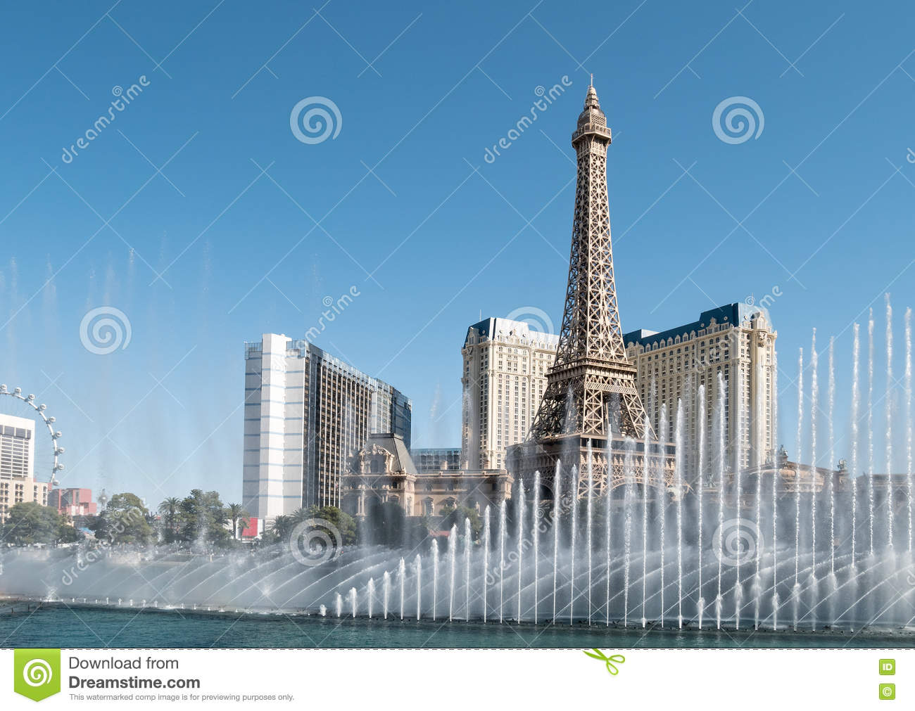 Download Eiffel Tower, Fountains Of Bellagio Stock Image - Image of glitzy, building: 81296767