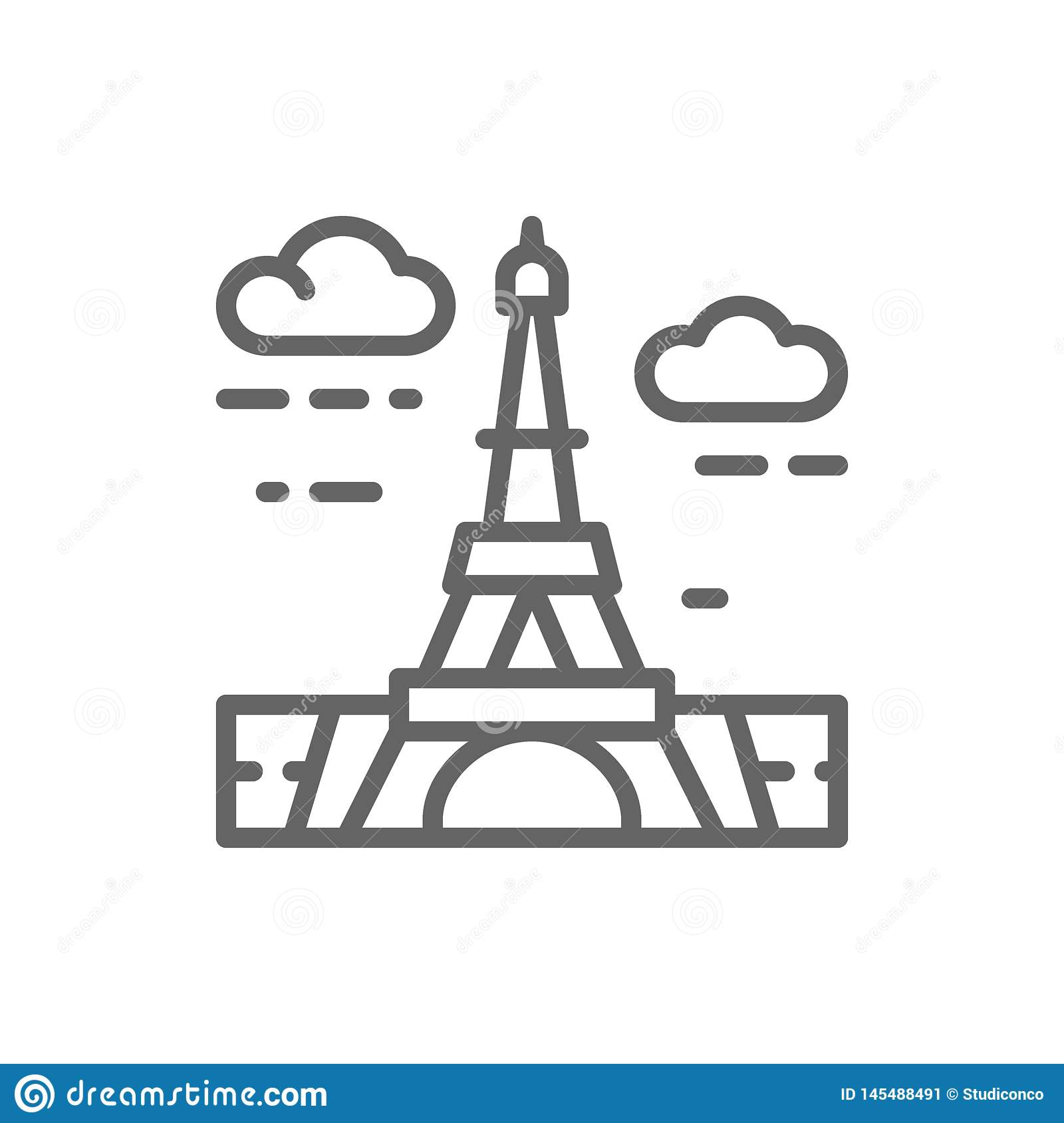 Eiffel Tower, France, landmark line icon.