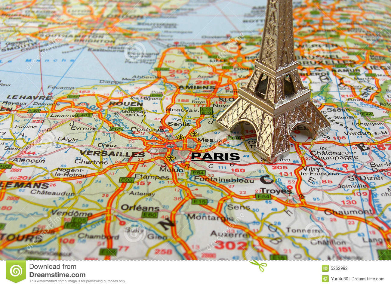 eiffel tower on france map stock photography image 5262982