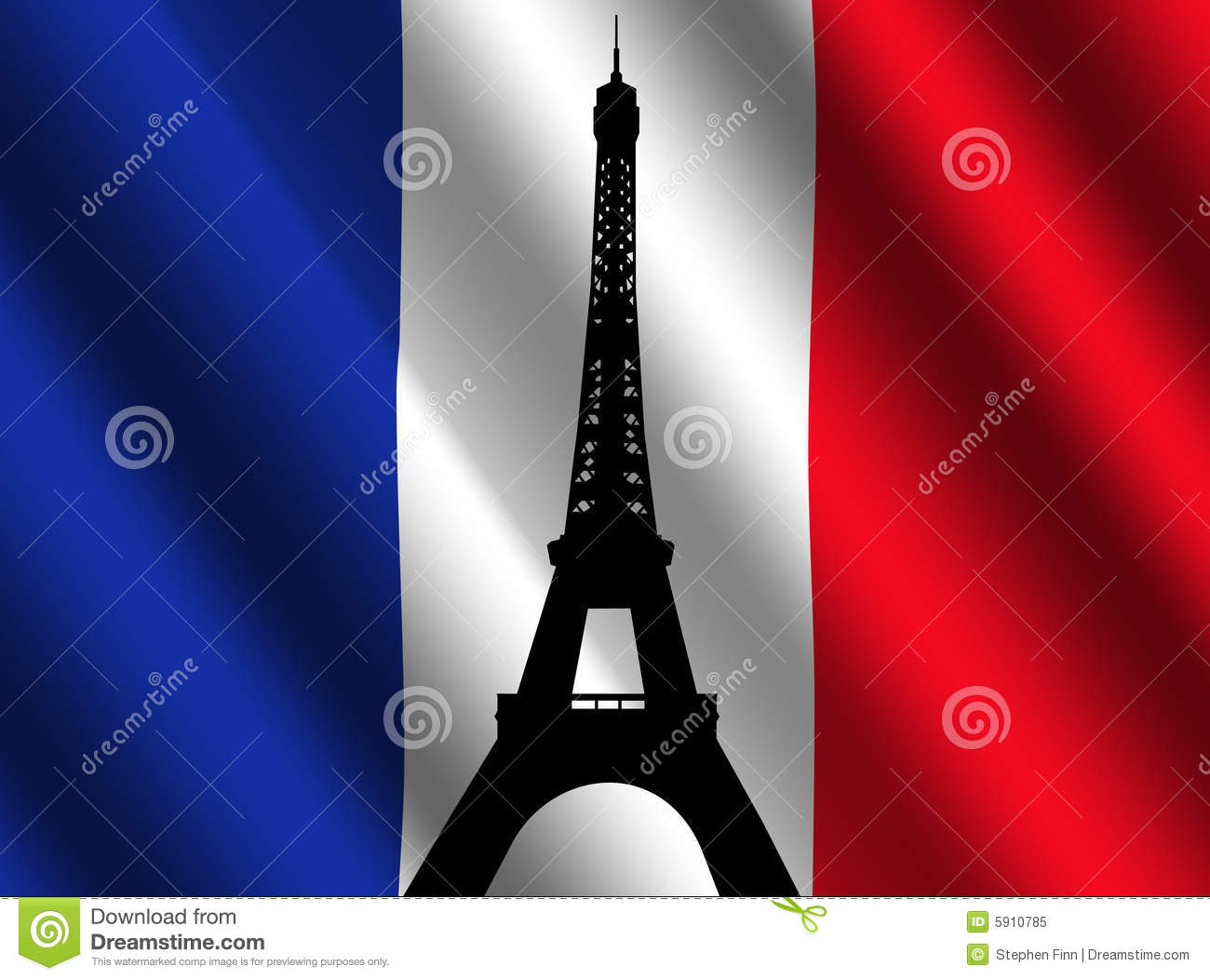eiffel tower with french flag royalty free stock photo image