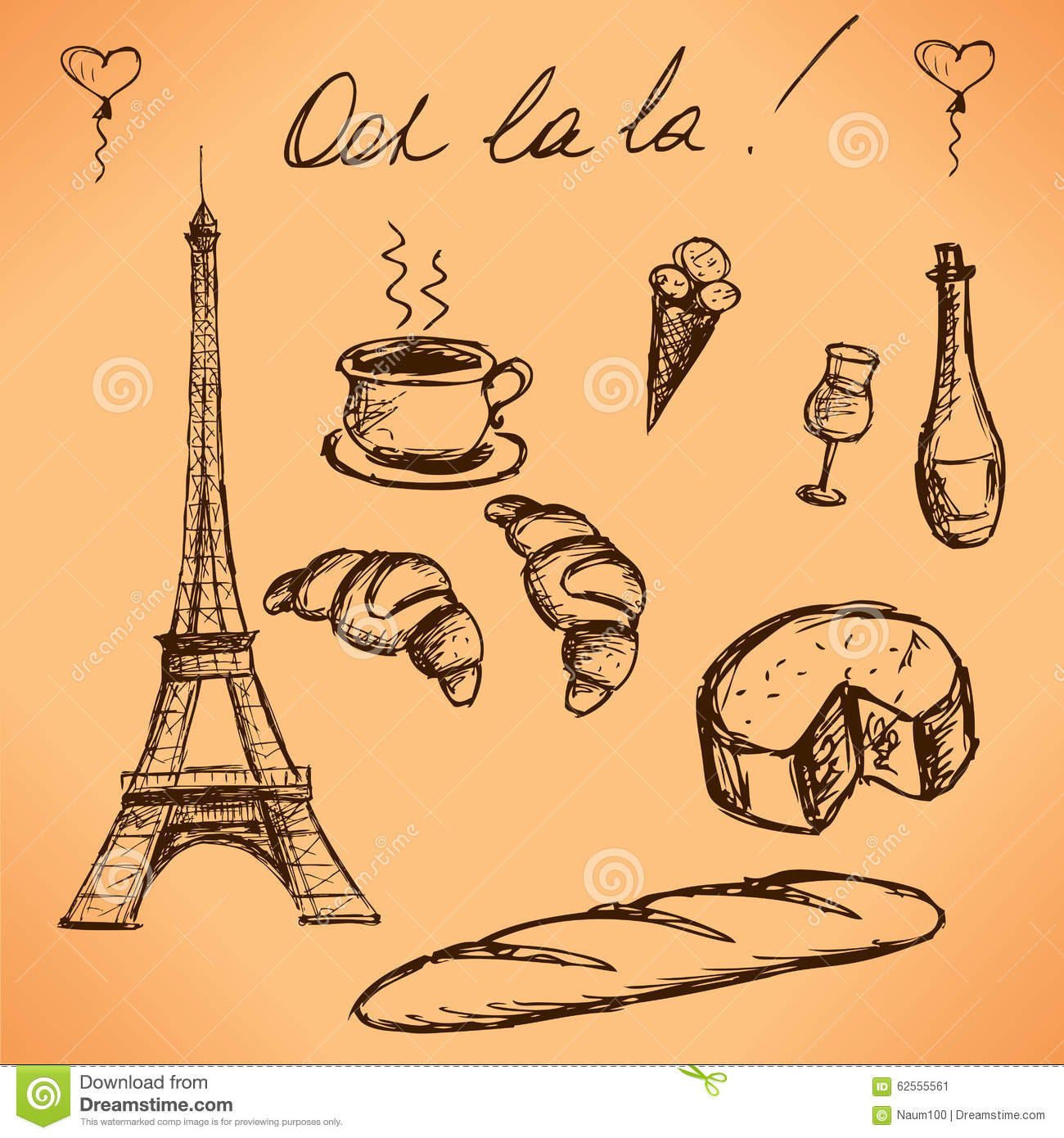 Eiffel Tower And French Food Vintage Hand Drawn Picture