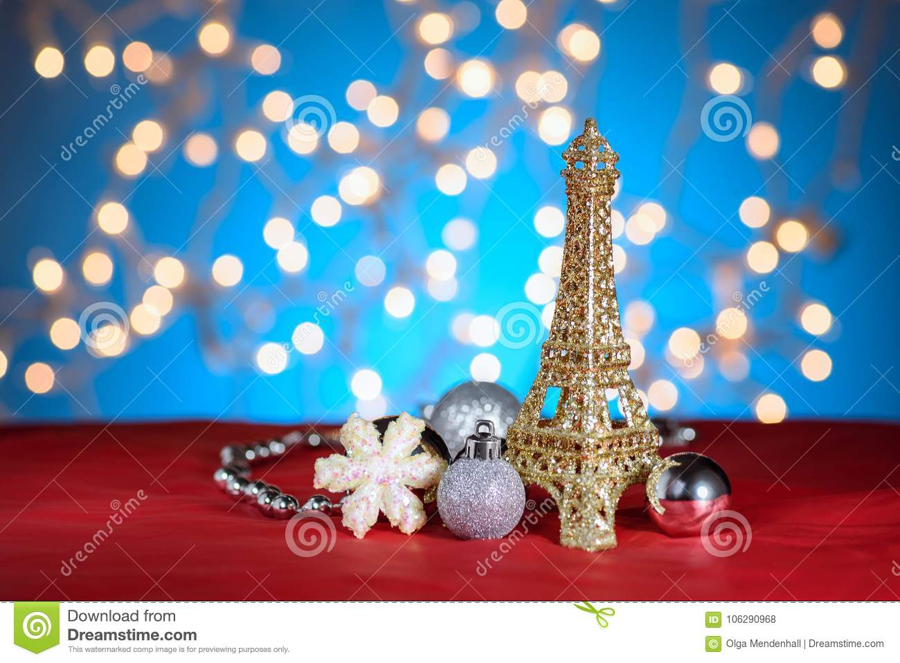 eiffel tower golden decor toy christmas new year decorations ornaments blue