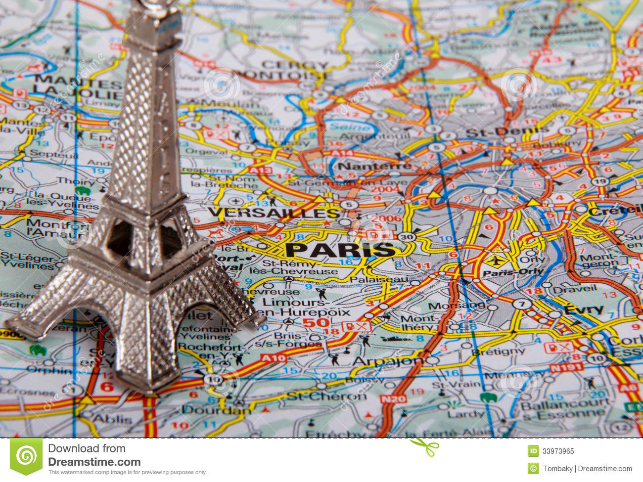 eiffel tower on a map of paris royalty free stock photo. Black Bedroom Furniture Sets. Home Design Ideas