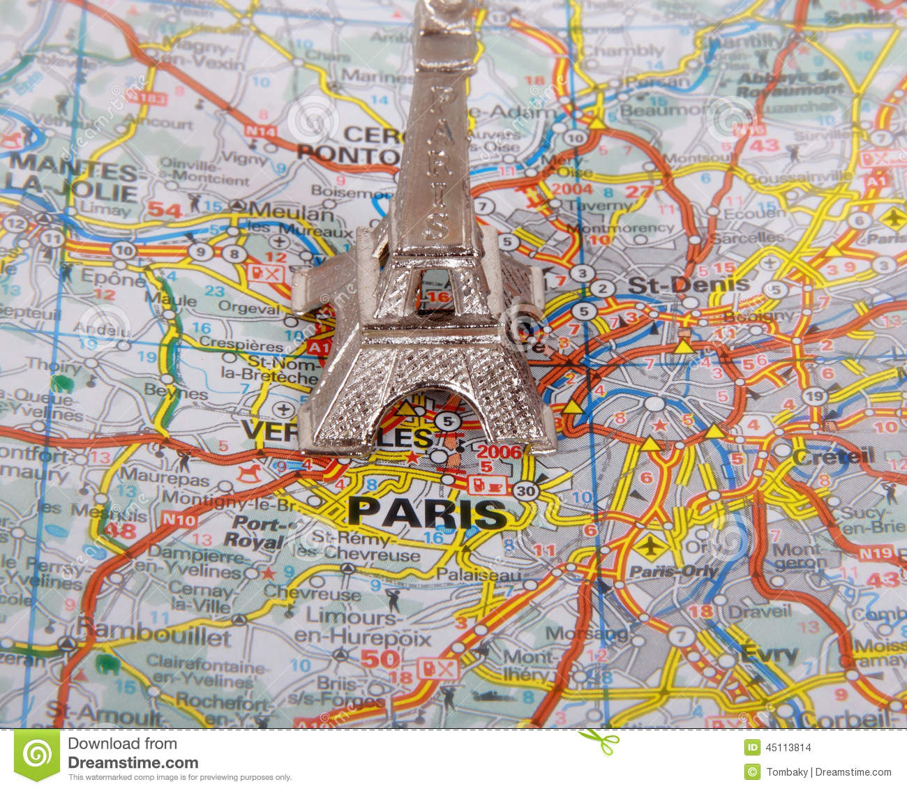 eiffel tower on a map of paris stock photo image of
