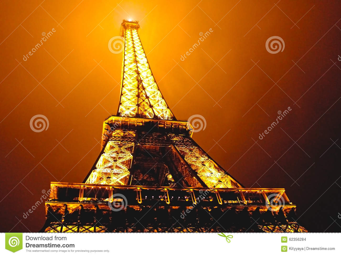 eiffel tower at misty night in paris france editorial stock image image 62356284. Black Bedroom Furniture Sets. Home Design Ideas
