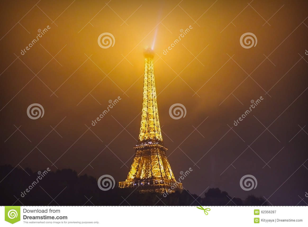 eiffel tower at misty night in paris france editorial photography image 62356287. Black Bedroom Furniture Sets. Home Design Ideas