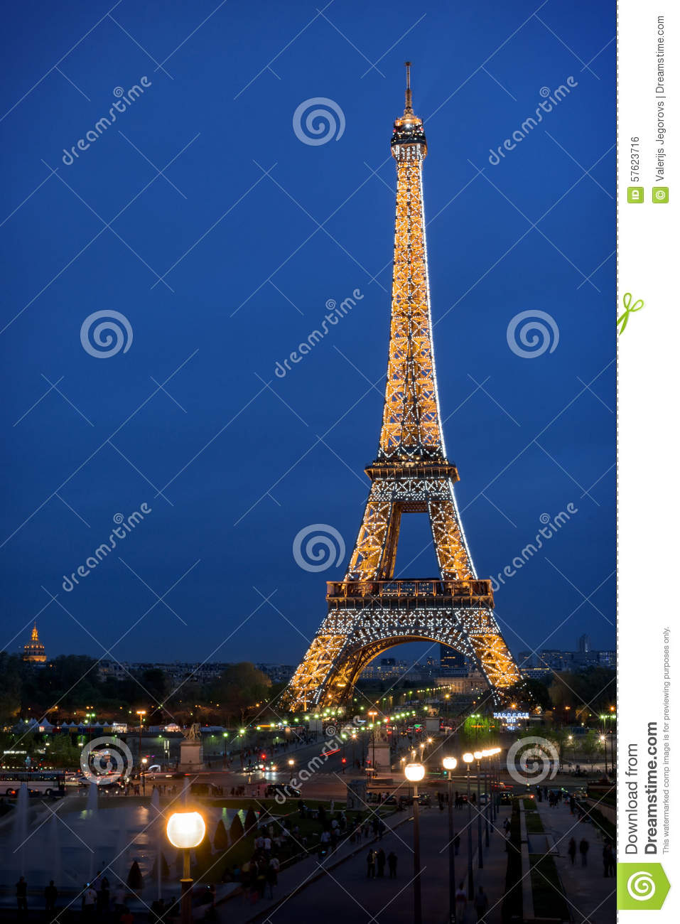 Eiffel tower night illumination editorial photo image 57623716 - Illumination a paris ...