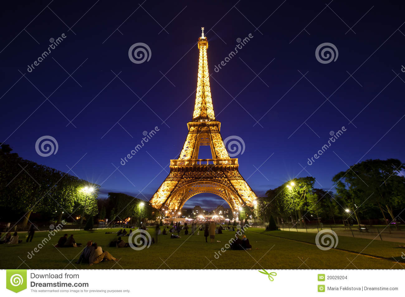 Eiffel Tower in night light, Paris, France.