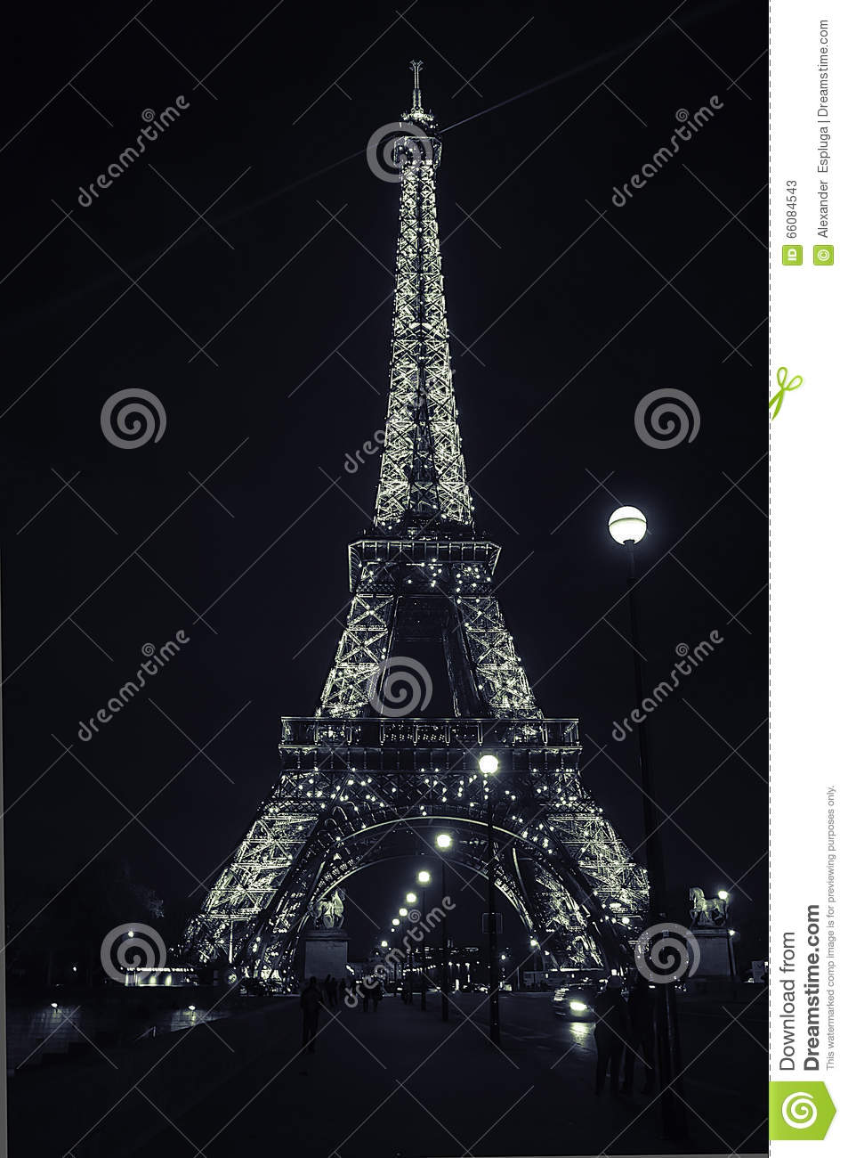 illuminated eiffel tower with black and white paris editorial photo 46158767. Black Bedroom Furniture Sets. Home Design Ideas