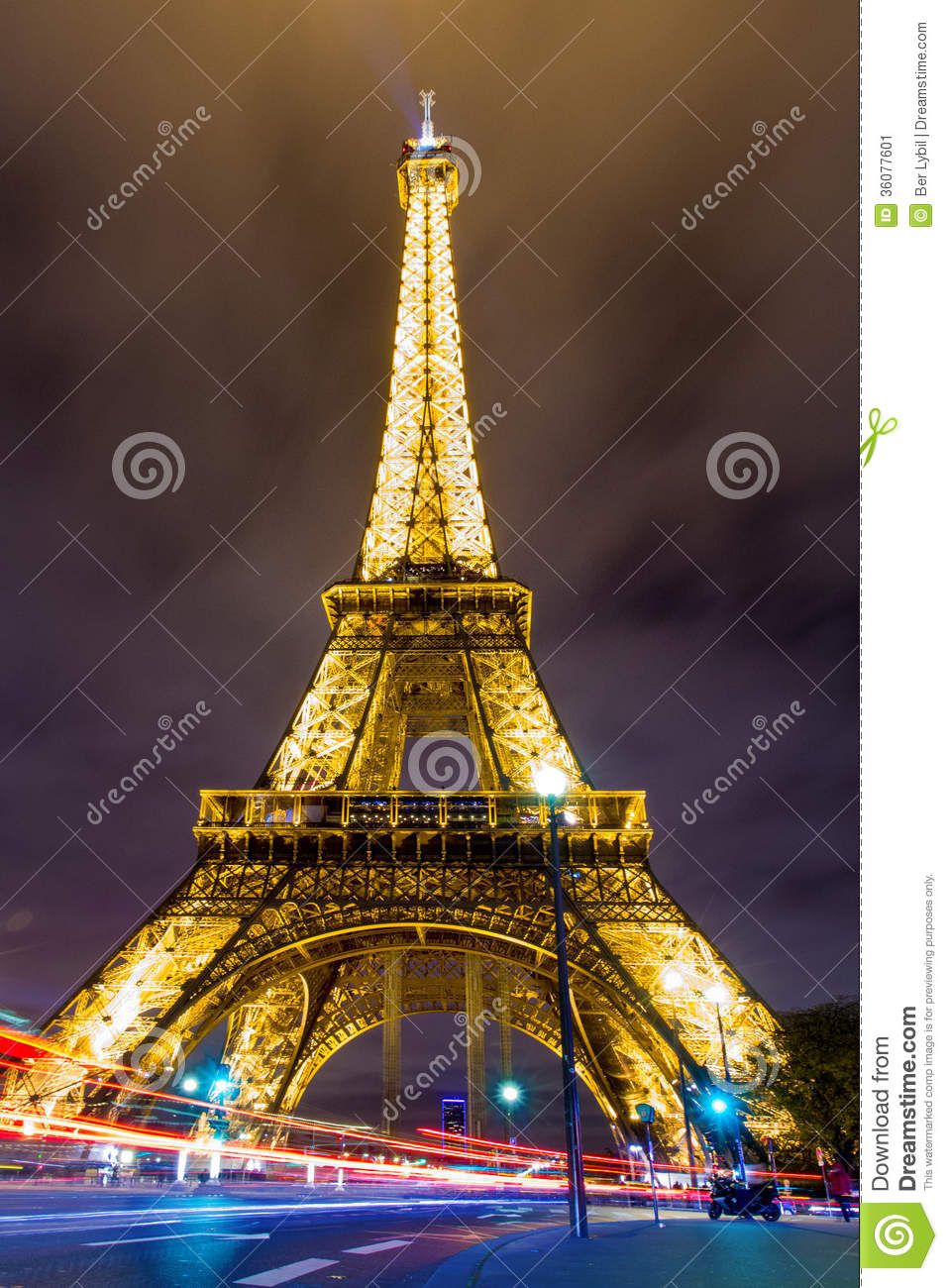 Eiffel tower at night editorial photo image 36077601 for Paris night time