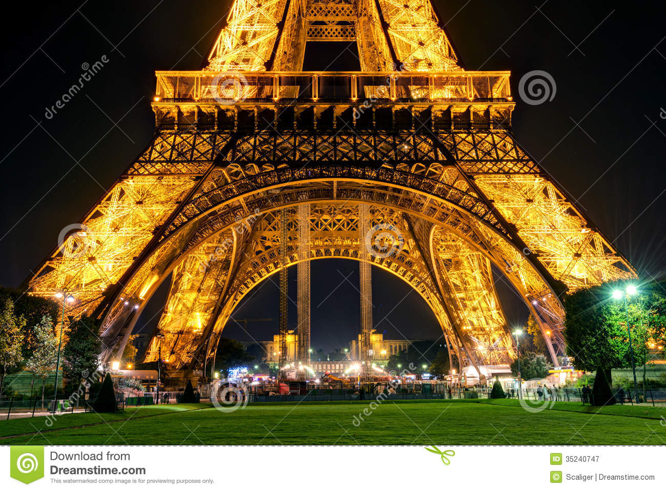 the eiffel tower at night in paris editorial photography image of
