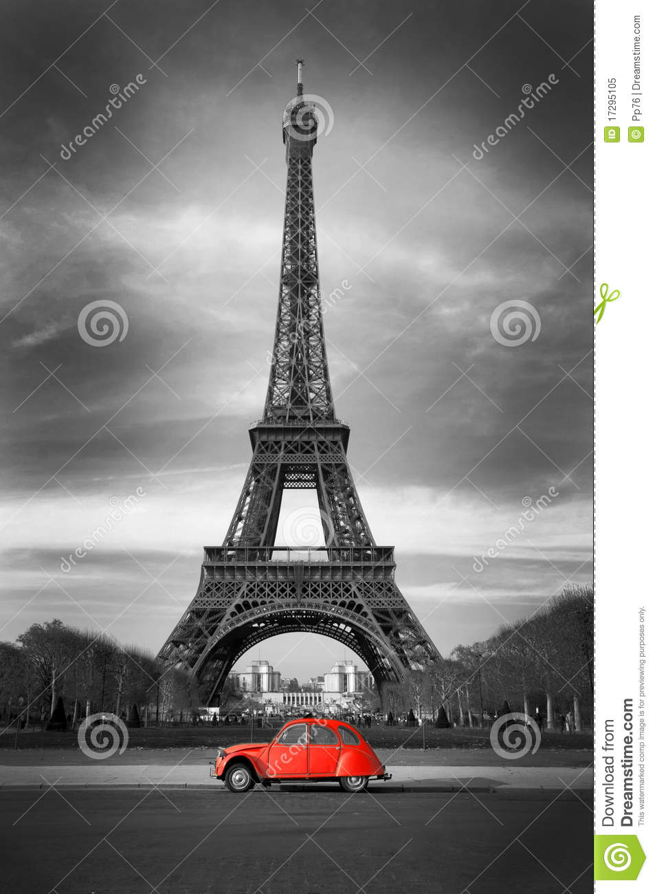 eiffel tower with old french red car stock image image of architecture landscape 17295105. Black Bedroom Furniture Sets. Home Design Ideas