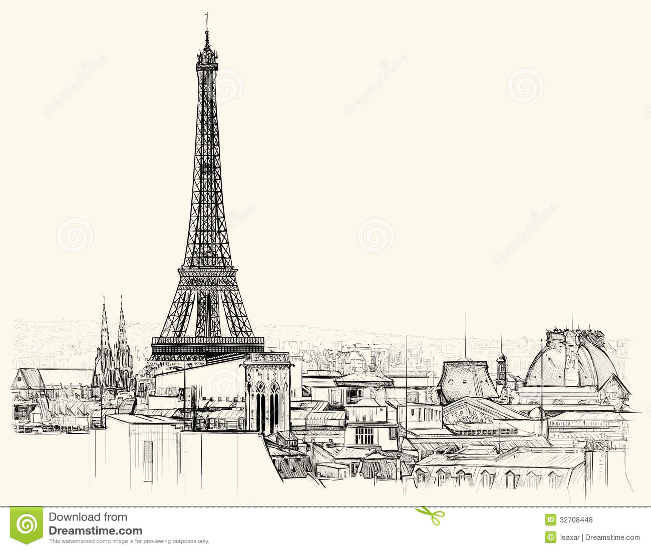 eiffel tower over roofs of paris royalty free stock photos
