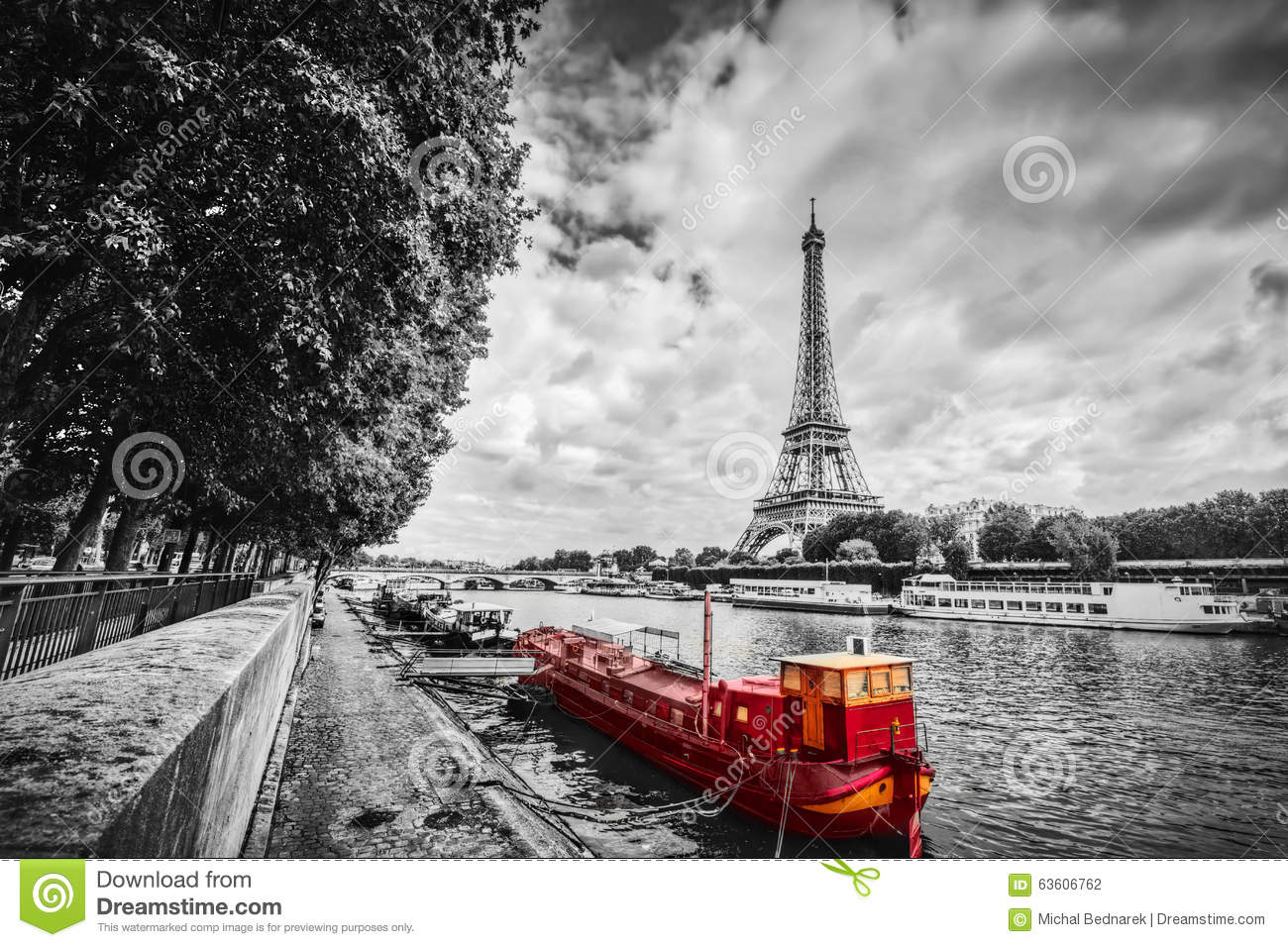 Eiffel Tower over Seine river in Paris, France. Vintage
