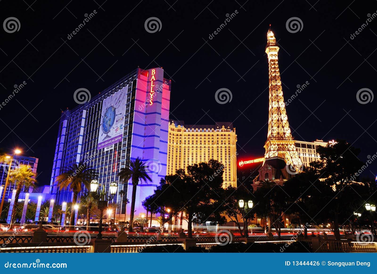Eiffel Tower Paris And Ballys Hotel In Las Vegas Editorial