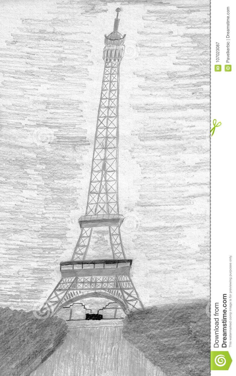 This is a hand drawn pencil drawing the pencil drawing shows the eiffel tower in paris the city of love in the background you see the sky and the eiffel