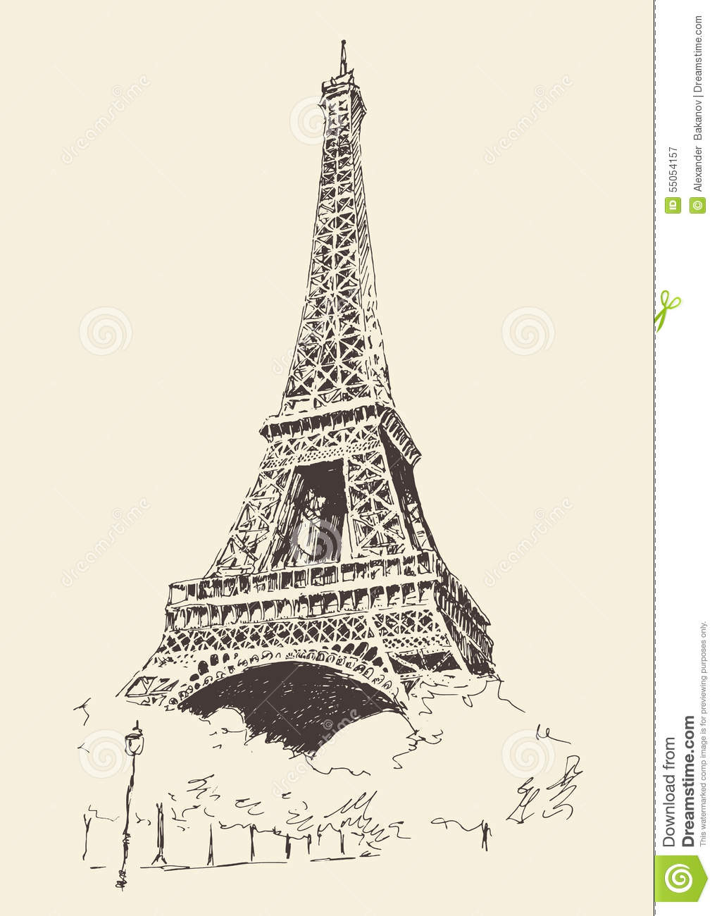 Eiffel tower paris france engraved hand drawn stock vector for Architecture antique