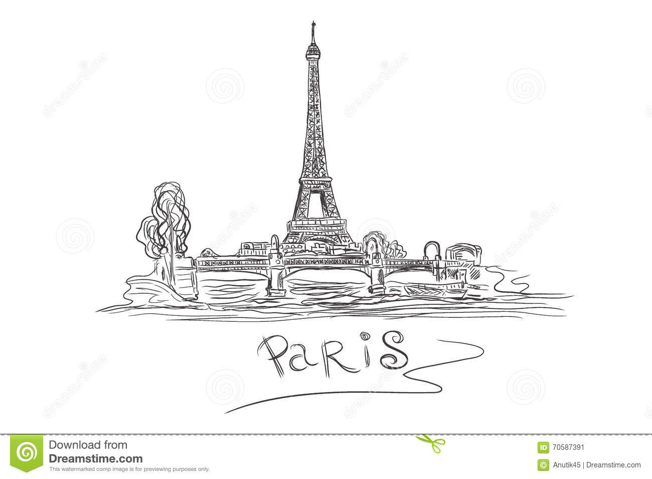 eiffel tower paris france sketch vector illustration stock vector illustration of romantic. Black Bedroom Furniture Sets. Home Design Ideas