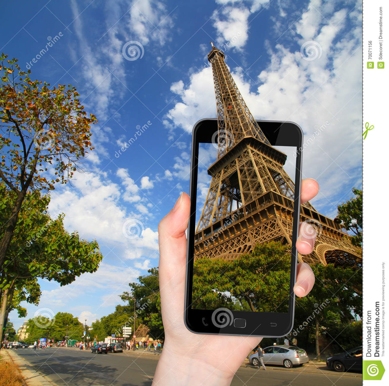 eiffel tower in paris france taken with a mobile phone stock photo image 70071156. Black Bedroom Furniture Sets. Home Design Ideas