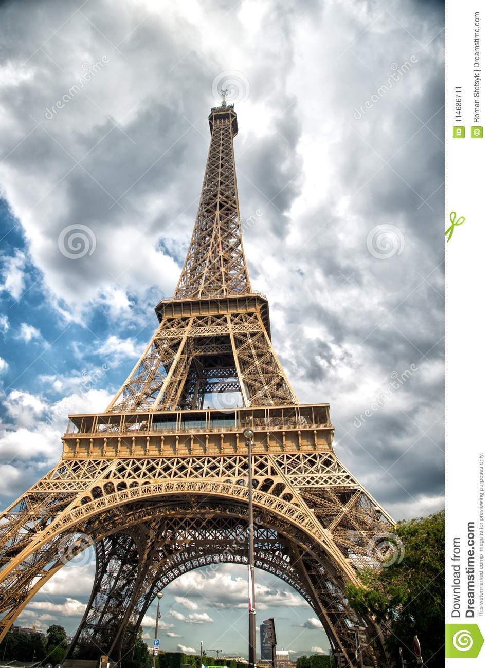 Eiffel Tower In Paris, France. Tower On Cloudy Sky ...
