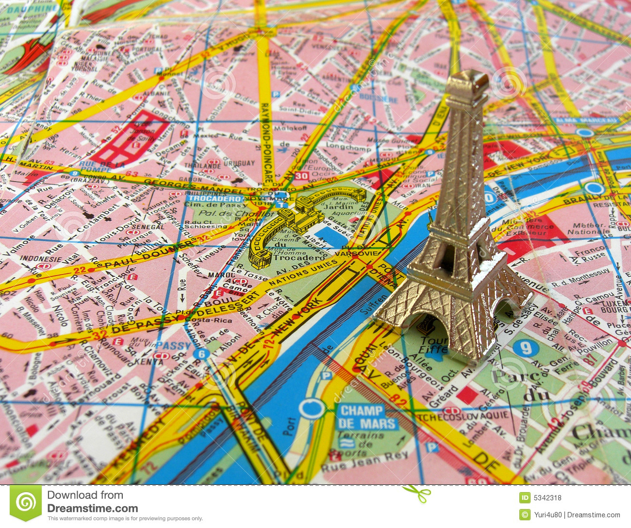 eiffel tower on paris map royalty free stock photos. Black Bedroom Furniture Sets. Home Design Ideas