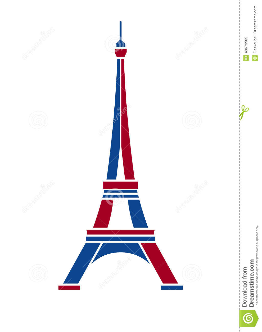 Eiffel tower logo in red and blue paris stock vector for Color design paris