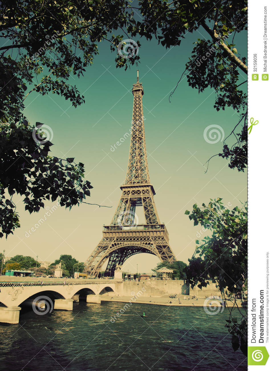 Eiffel Tower And Seine River In Paris France Vintage Stock Photo Image Of Seine Beautiful