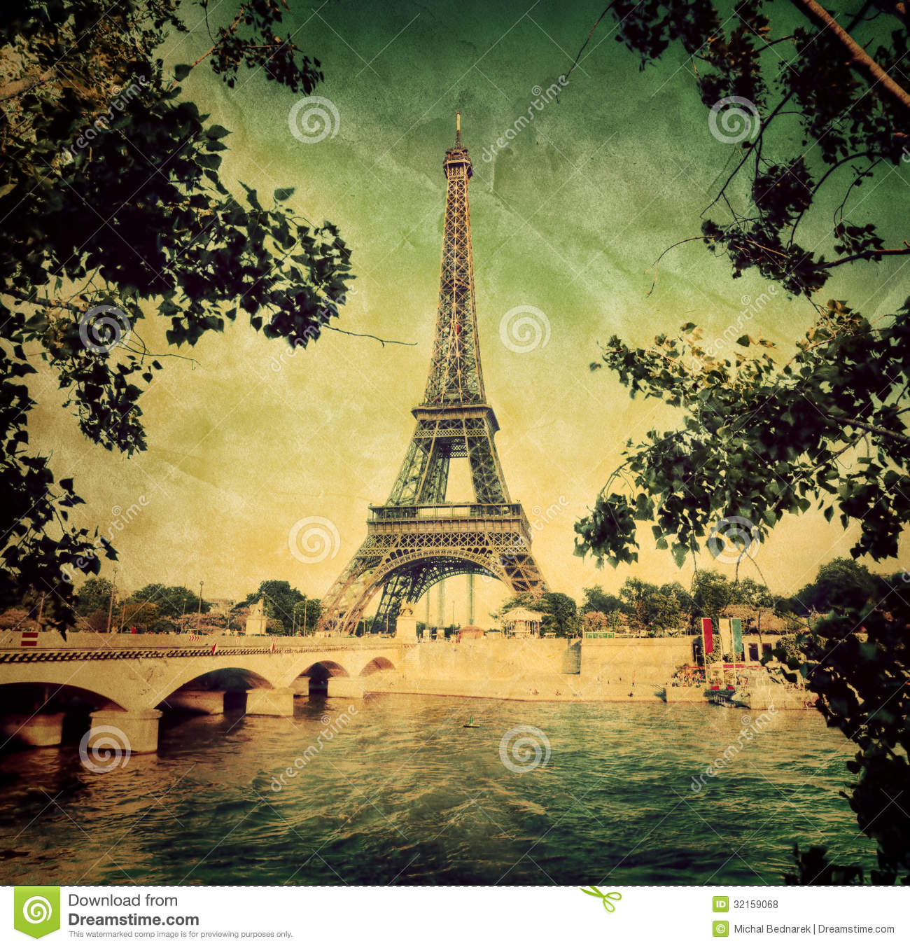 Eiffel tower and seine river in paris france vintage for Imagenes retro vintage