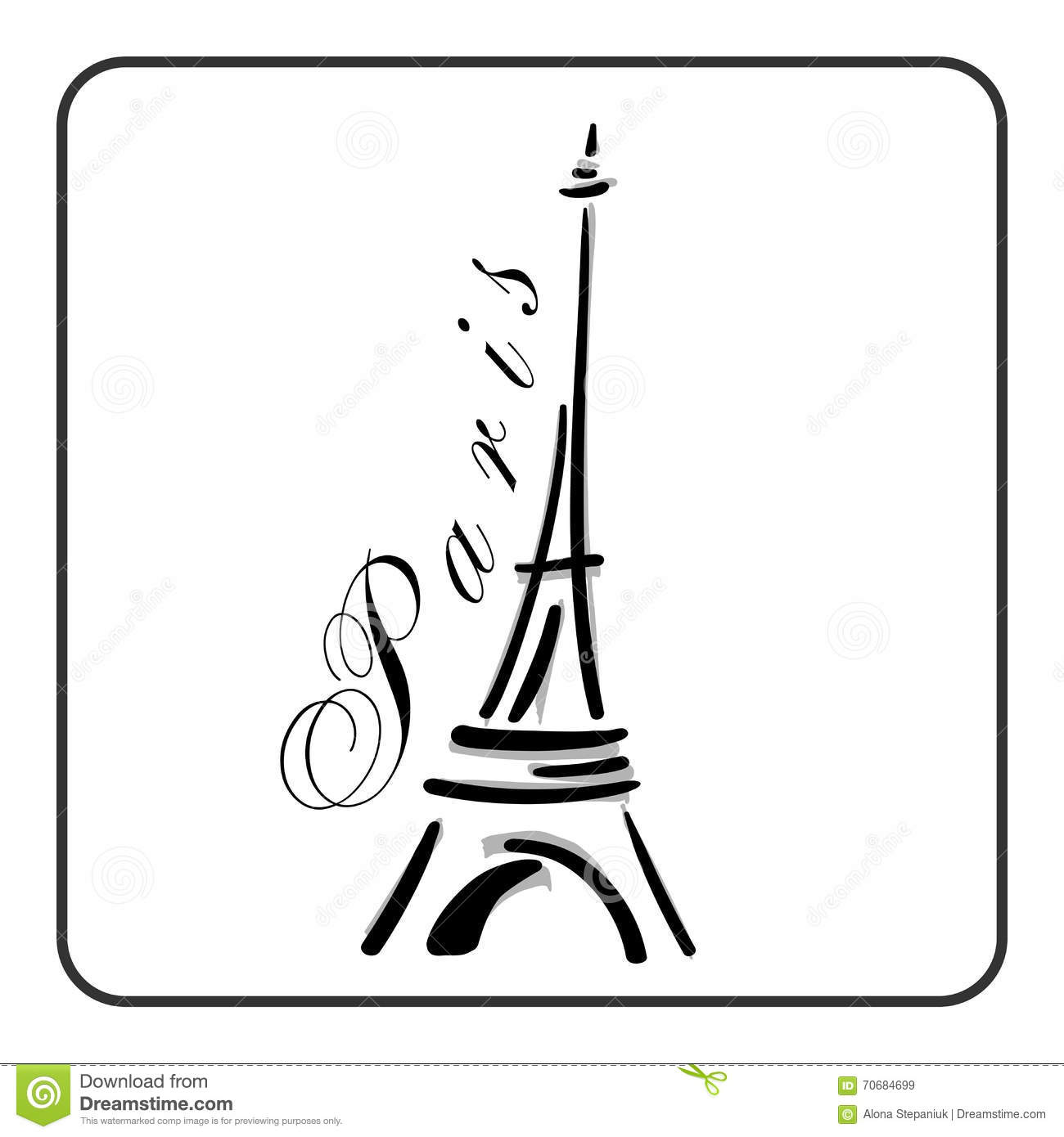 Eiffel Tower In A Simple Sketch Style Stock Vector ...