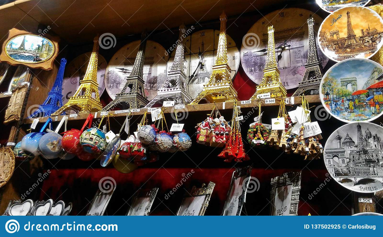 Eiffel Tower Souvenirs of different styles.