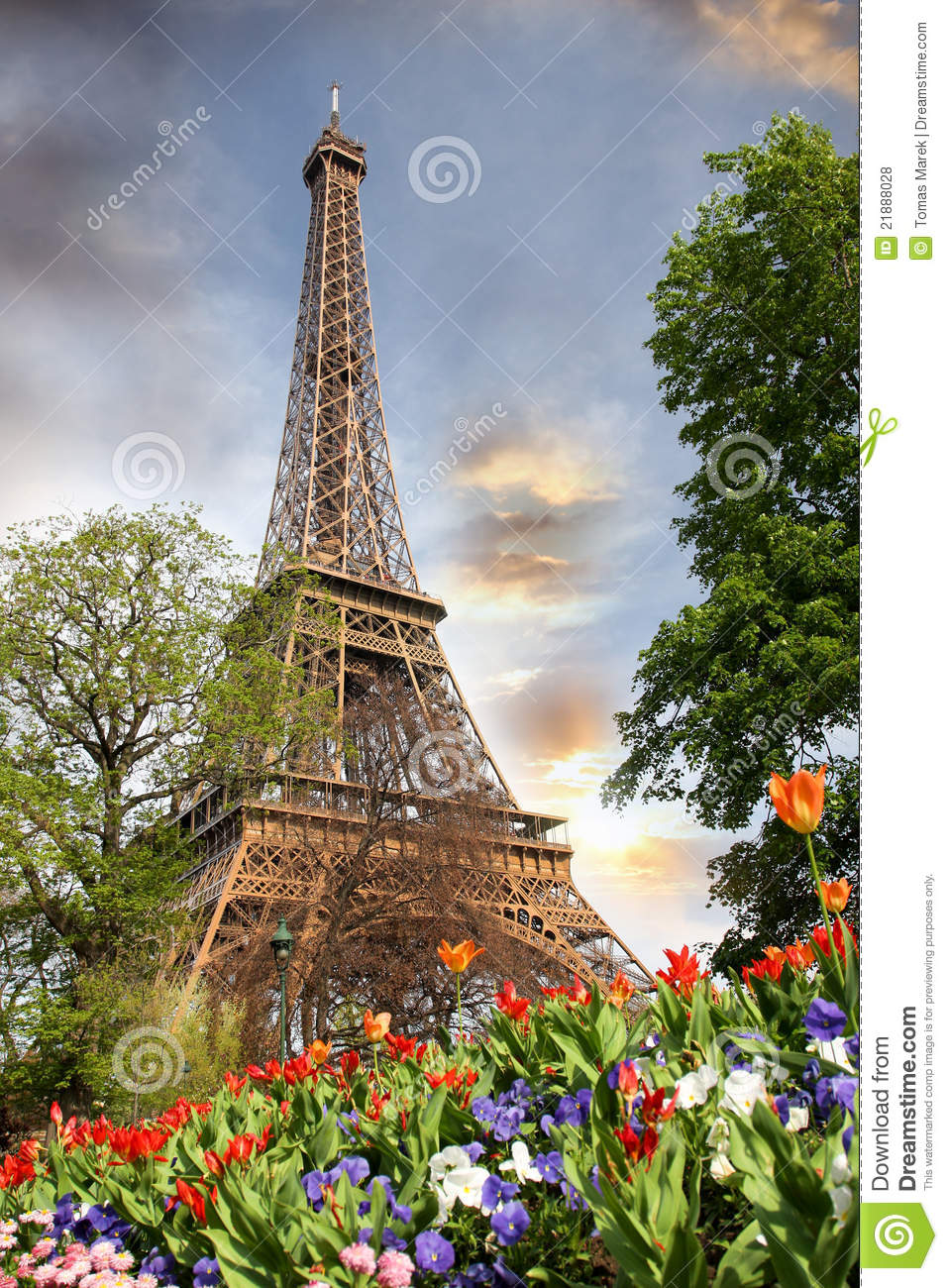 eiffel tower in spring time paris france royalty free
