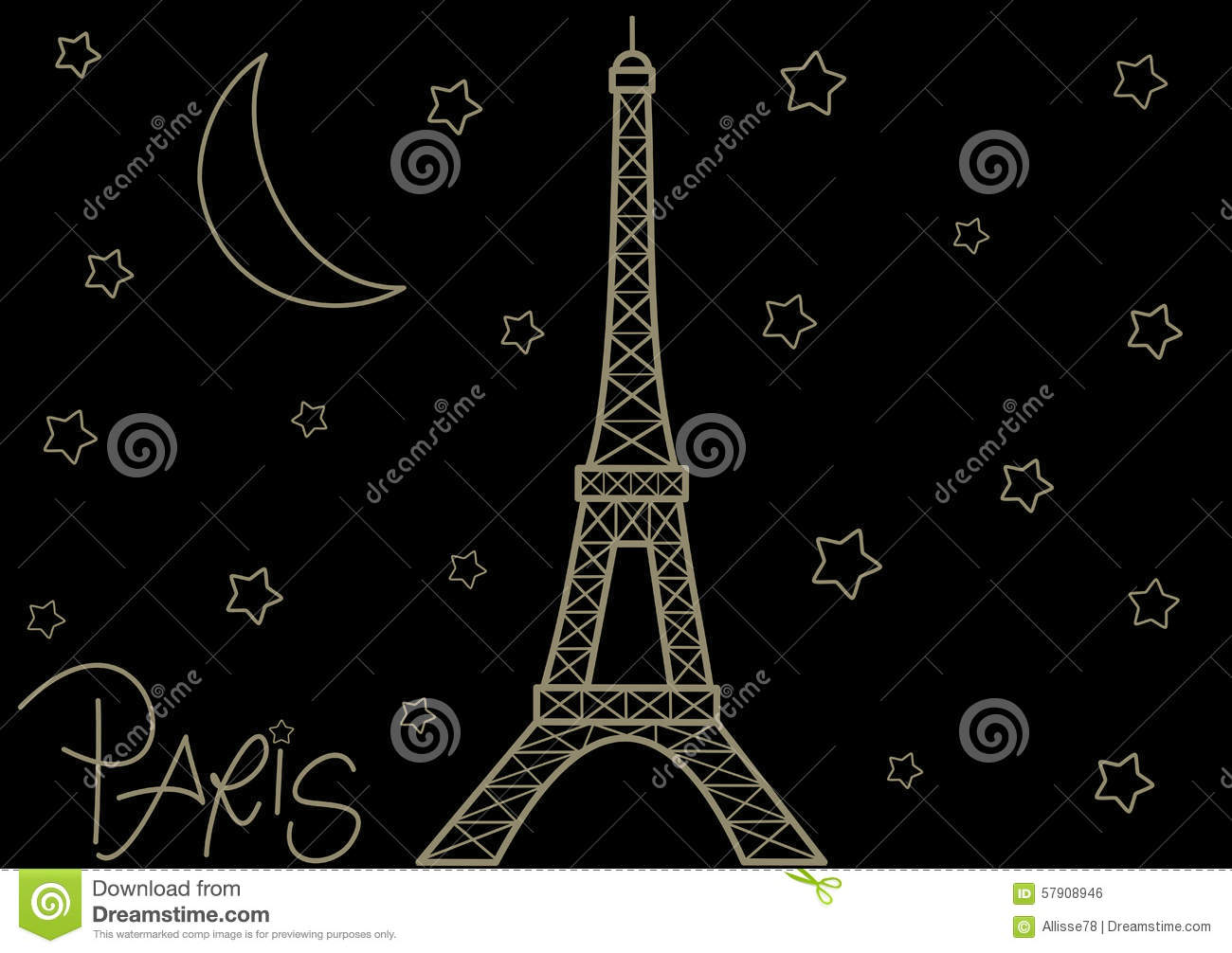 eiffel tower in the starry night cute romantic background