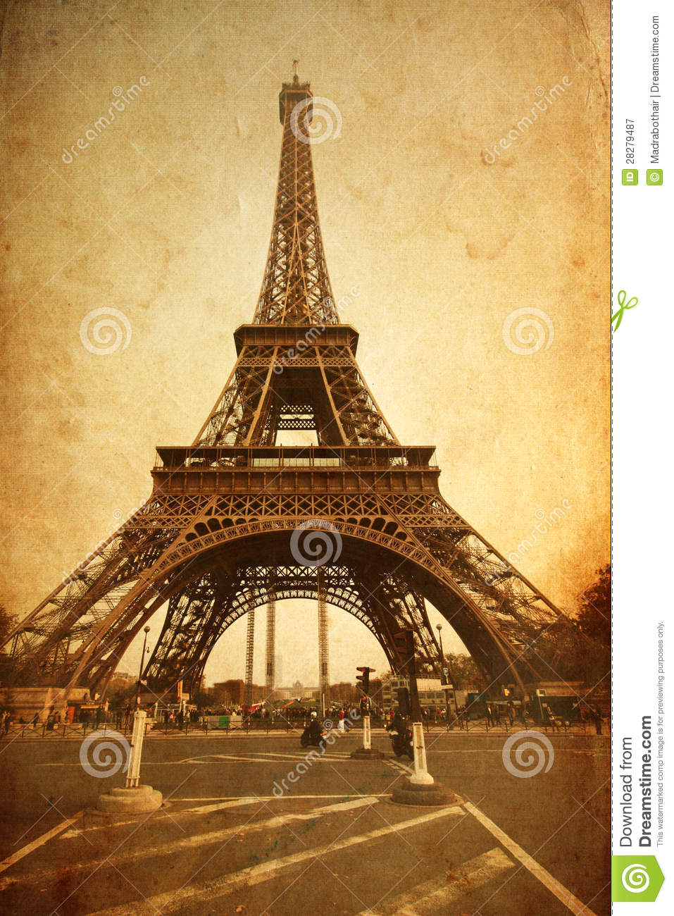 Eiffel Tower Textured With Old Paper Stock Illustration ...
