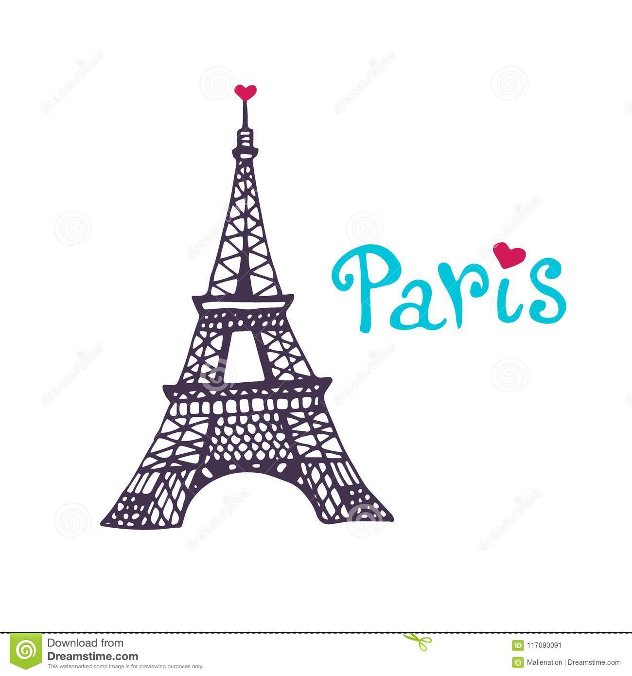image about Printable Pictures of the Eiffel Tower called Eiffel Tower Vector Icon. Hand Drawn Print. Paris Card