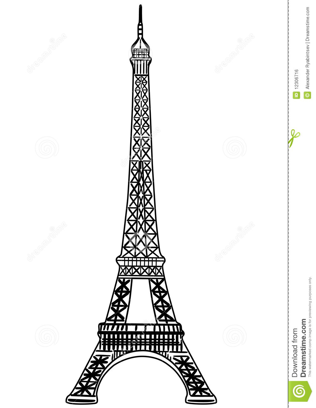 Super Eiffel Tower Vector Illustration Royalty Free Stock Image - Image  JB75