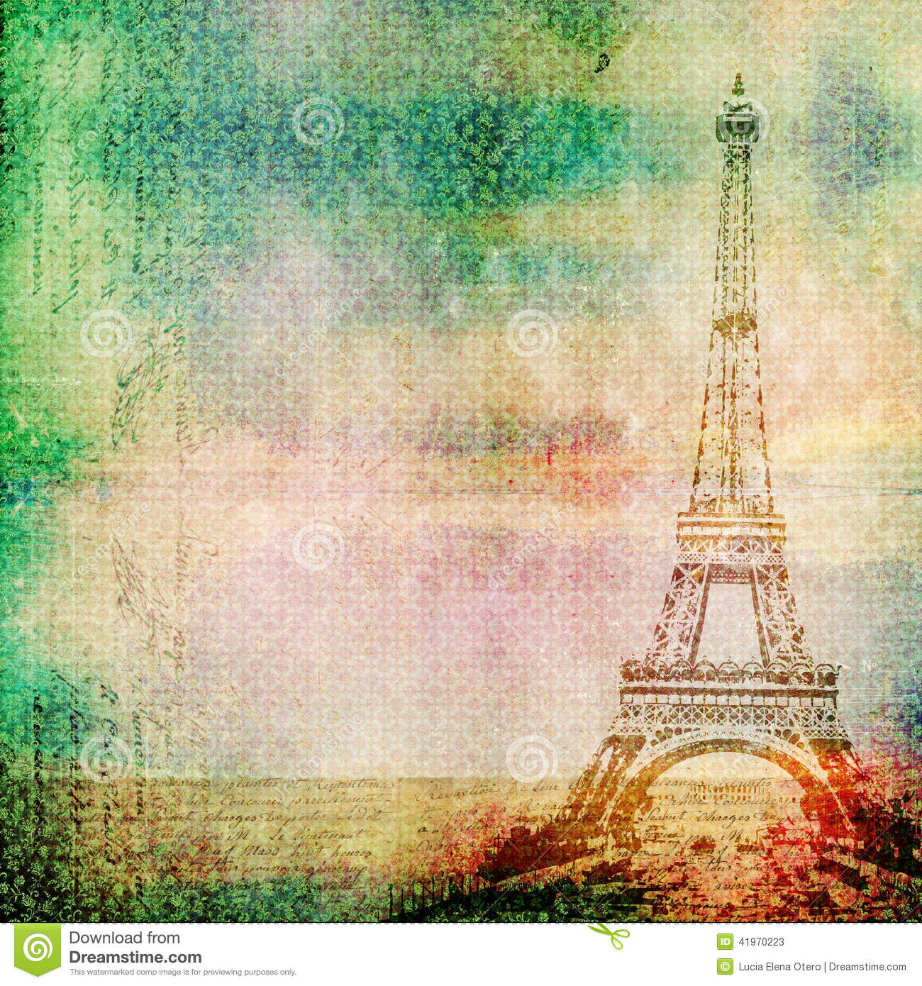 Eiffel Tower Vintage Background Stock Image