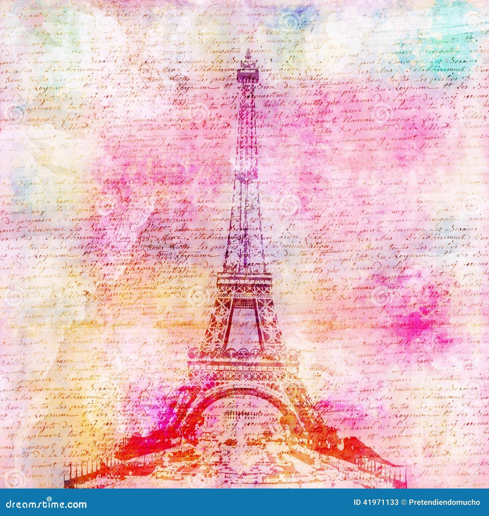 Scrapbook paper eiffel tower - Eiffel Tower Vintage Background Stock Photos