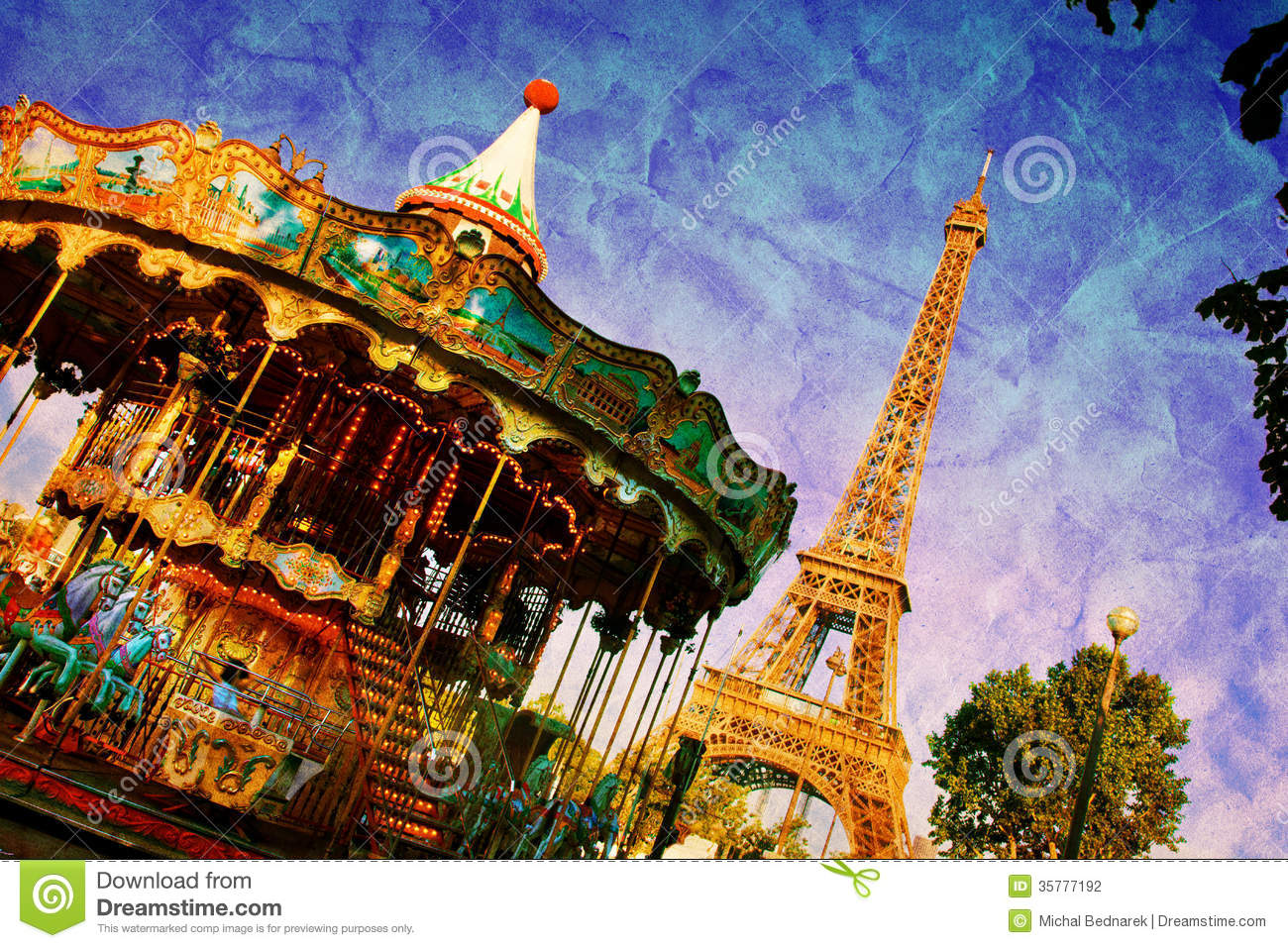 Eiffel Tower And Vintage Carousel, Paris, France Stock ...