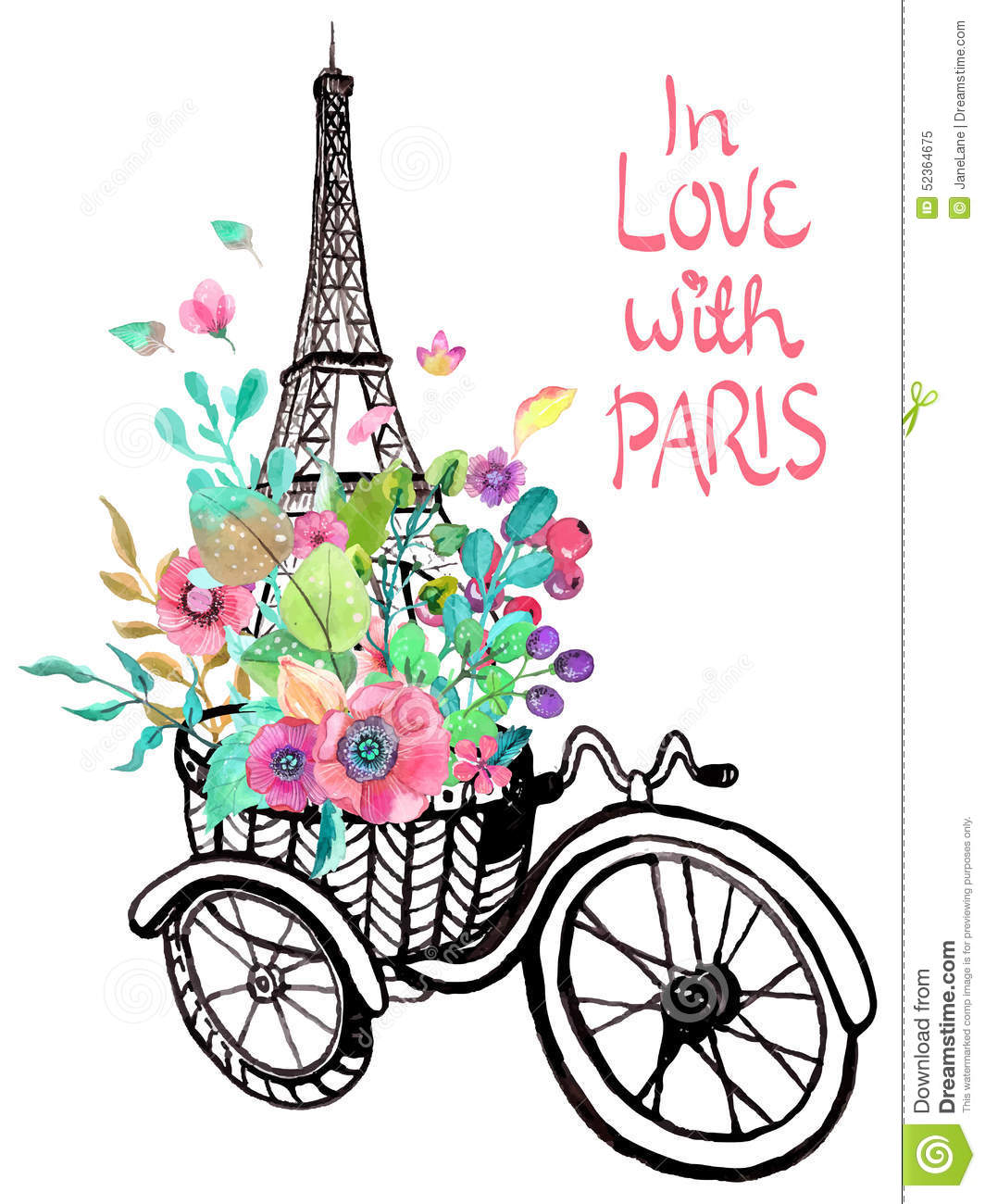 eiffel tower with watercolor flowers stock vector image 52364675. Black Bedroom Furniture Sets. Home Design Ideas