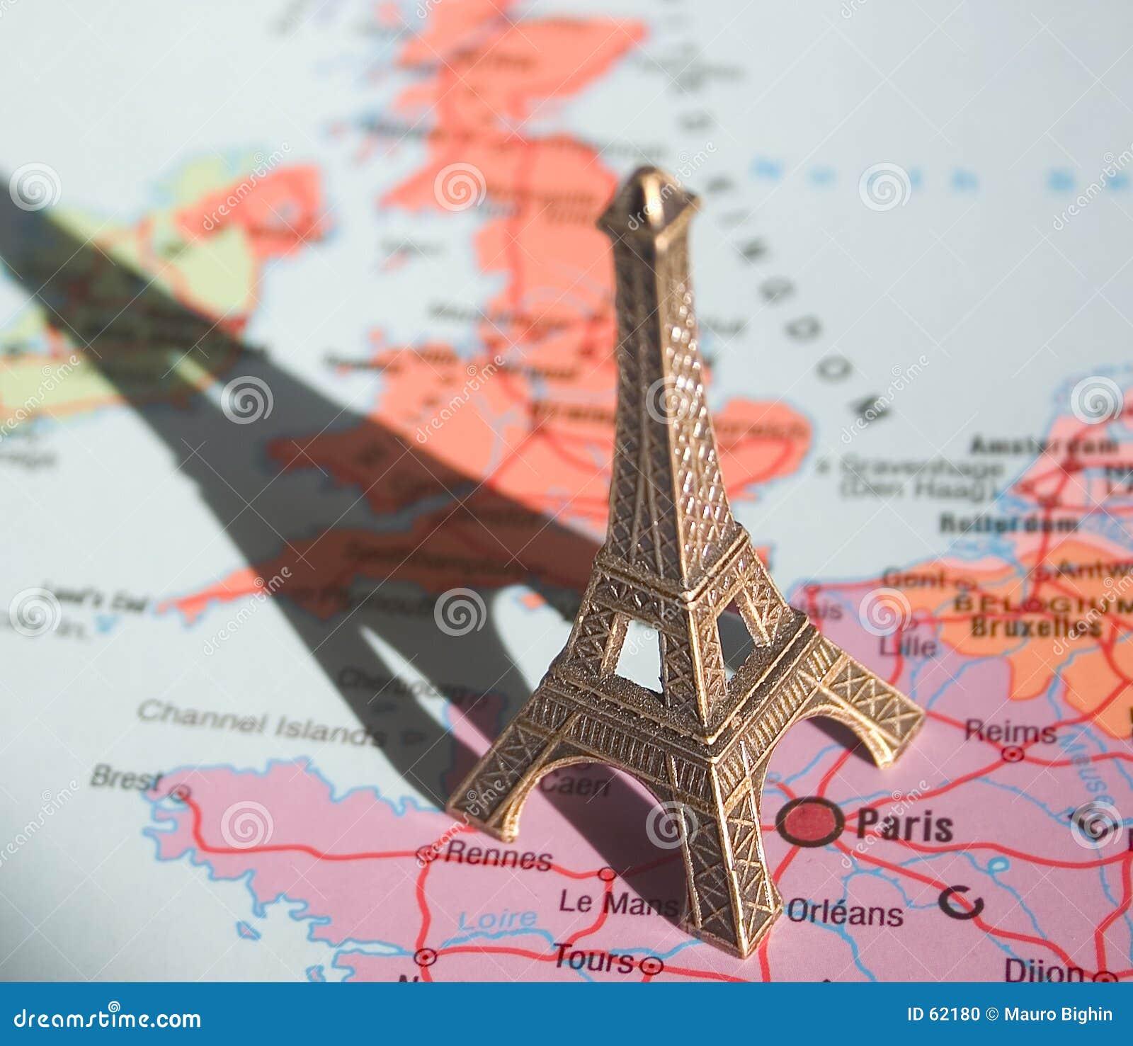 Eiffelturm auf der Karte