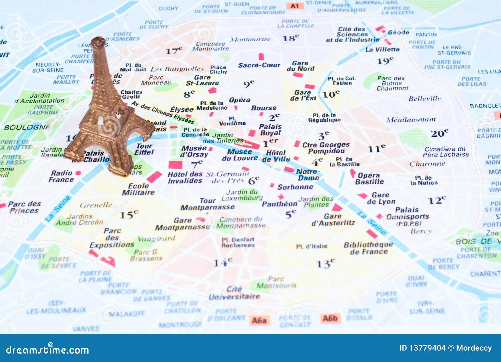 Karte Paris Eiffelturm.Eiffelturm Auf Einer Karte Von Paris Redaktionelles