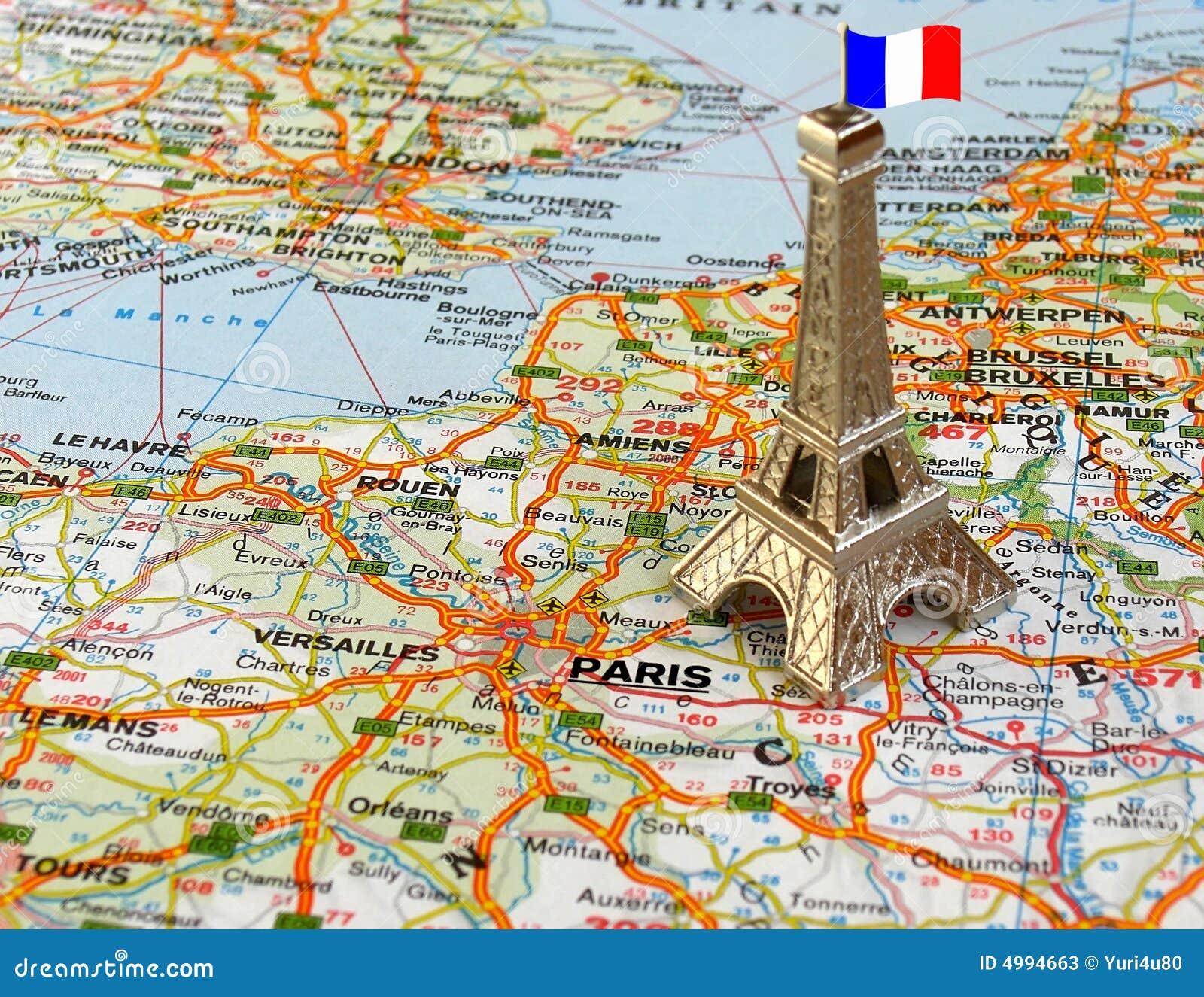 Karte Paris Eiffelturm.Eiffelturm Auf Karte Stockbild Bild Von Makro Kunst 4994663