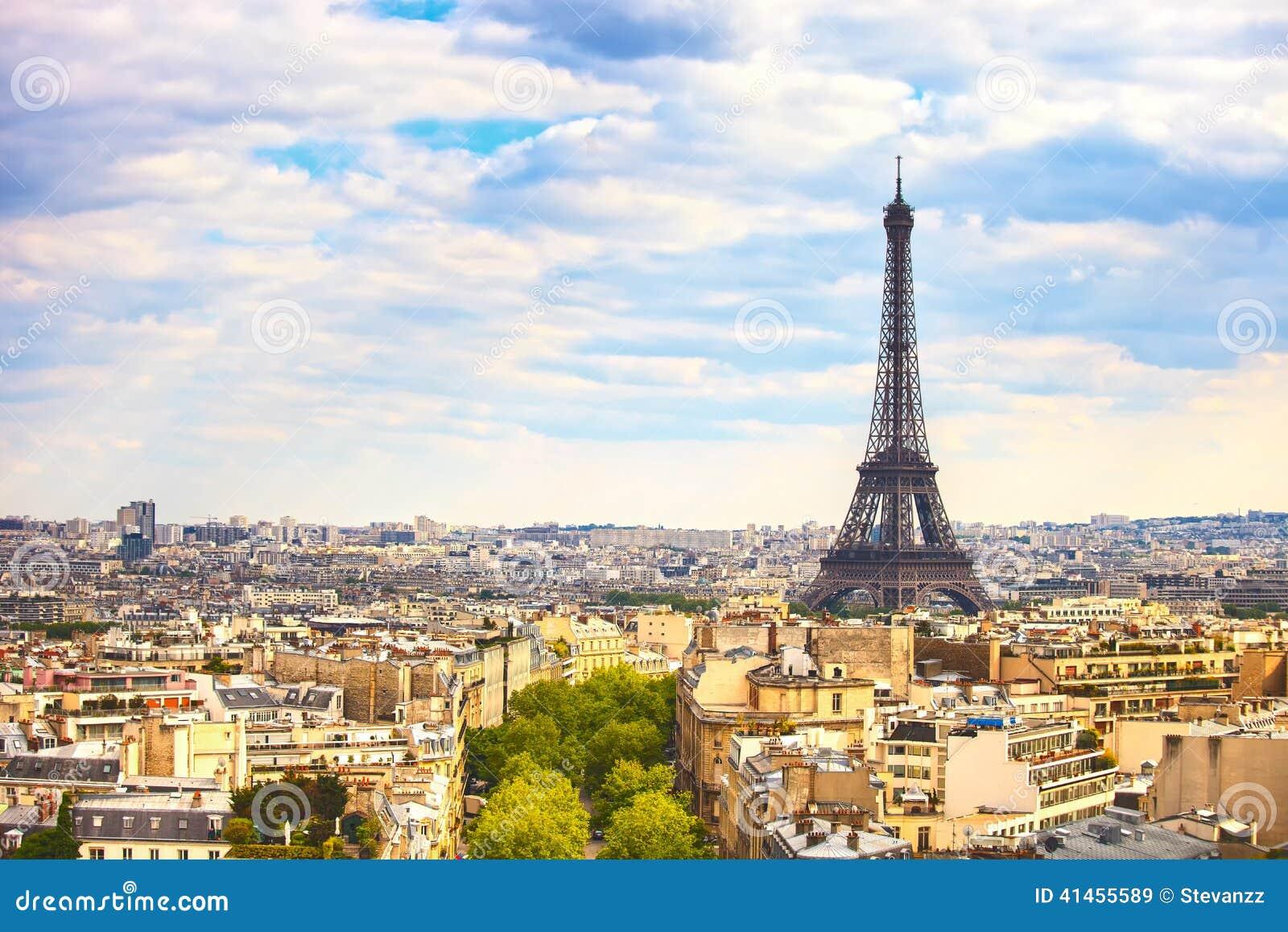 Eiffelturmmarkstein, Ansicht von Arc de Triomphe Paris, Frankreich