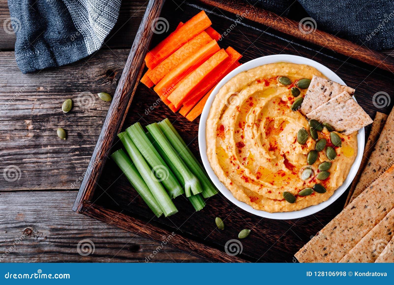 Eigengemaakte Smakelijke Pompoen Hummus De onderdompeling van het dankzeggingsvoorgerecht