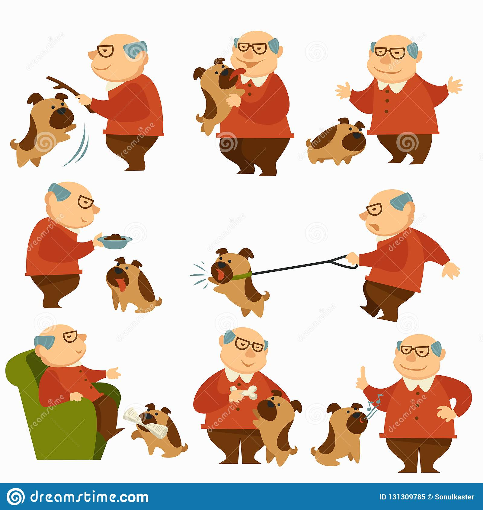 Eigentümer des Hunde- Haustieres, Ausgabenzeit des älteren Mannes mit Hund