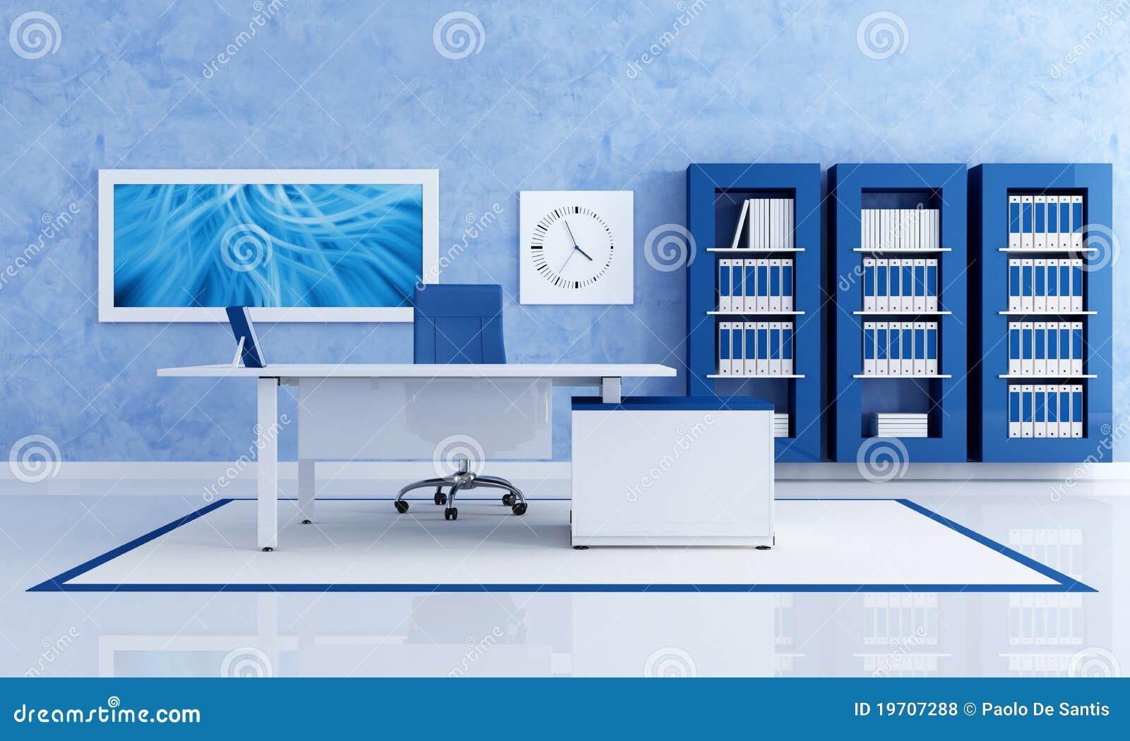 Eigentijds blauw bureau royalty vrije stock foto 39 s afbeelding 19707288 - Eigentijdse muur ...